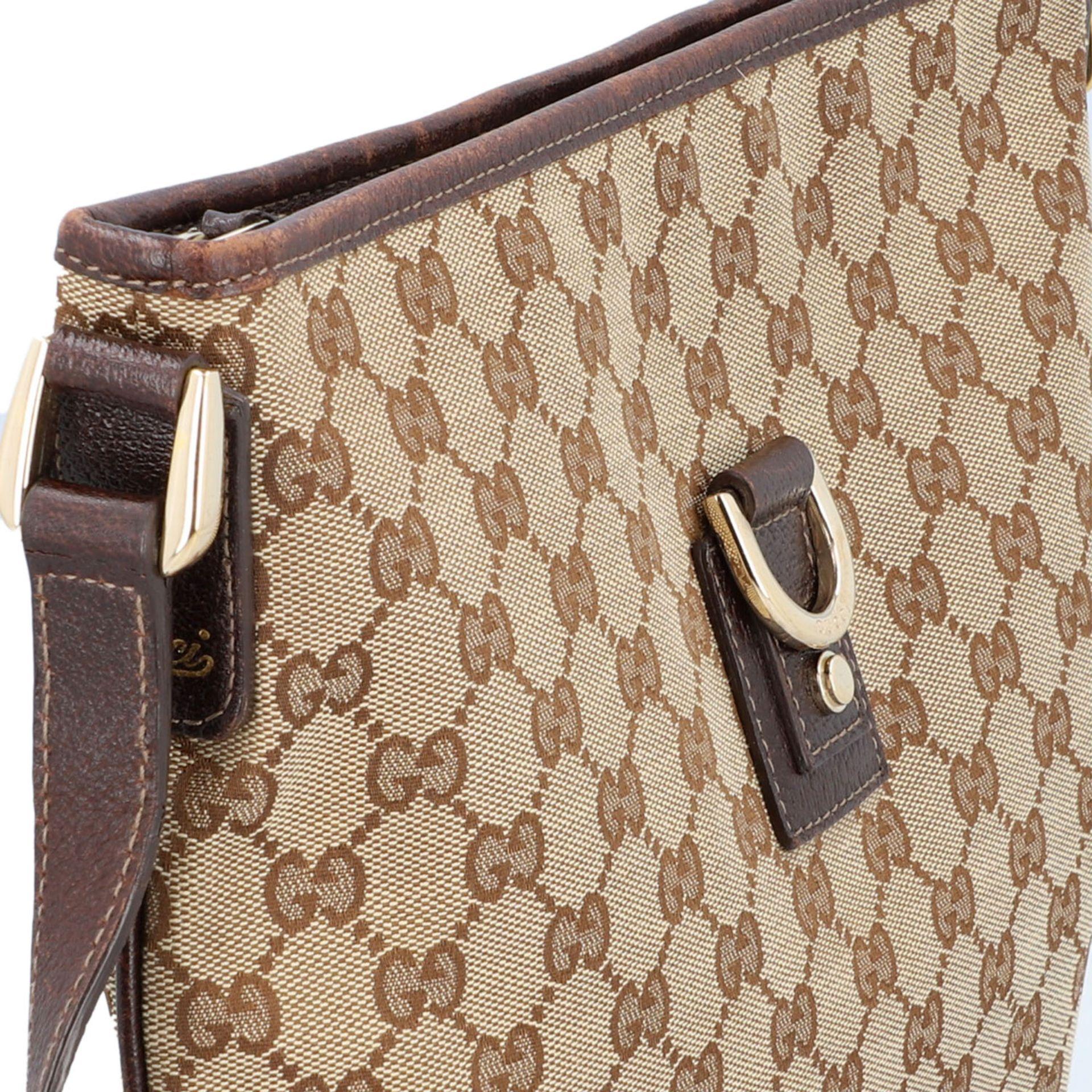 GUCCI Handtasche. Guccissima Design auf Textil in Beige und Braun, braunfarbene Leder- - Image 8 of 8