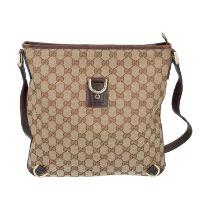 GUCCI Handtasche. Guccissima Design auf Textil in Beige und Braun, braunfarbene Leder-