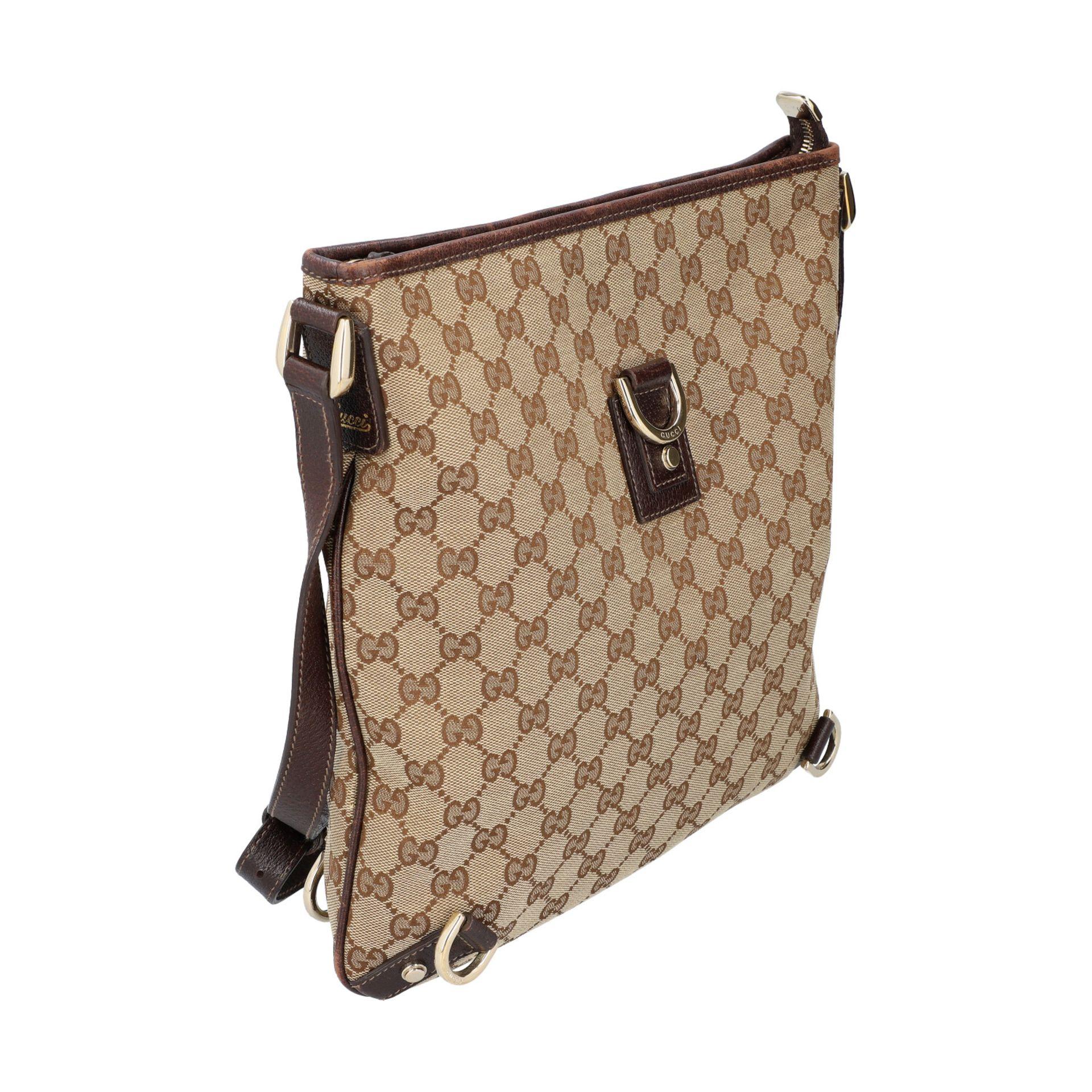 GUCCI Handtasche. Guccissima Design auf Textil in Beige und Braun, braunfarbene Leder- - Image 2 of 8