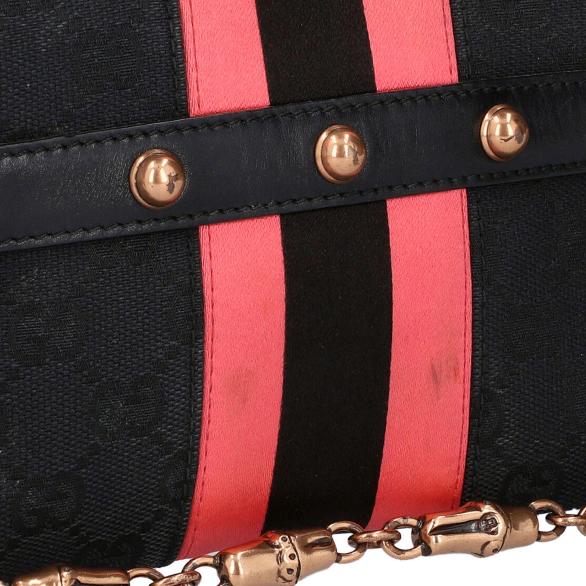 GUCCI Pochette. Guccissima Webmuster in Schwarz mit rosafarbenen Streifen und roségol - Image 7 of 8