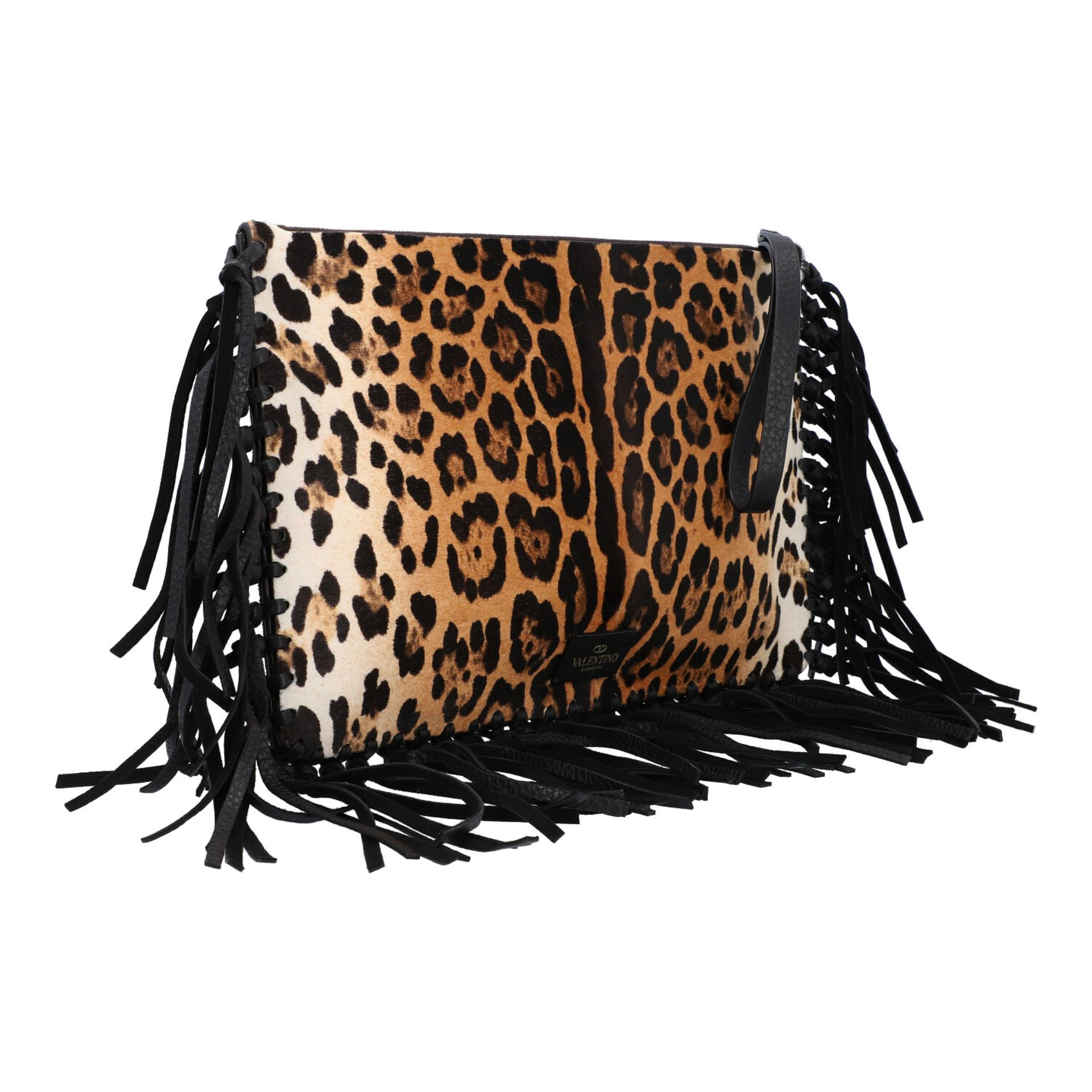 VALENTINO Clutch. Fell im Leoparden-Design mit Fransendetail an den Kanten aus schwarz - Image 2 of 8
