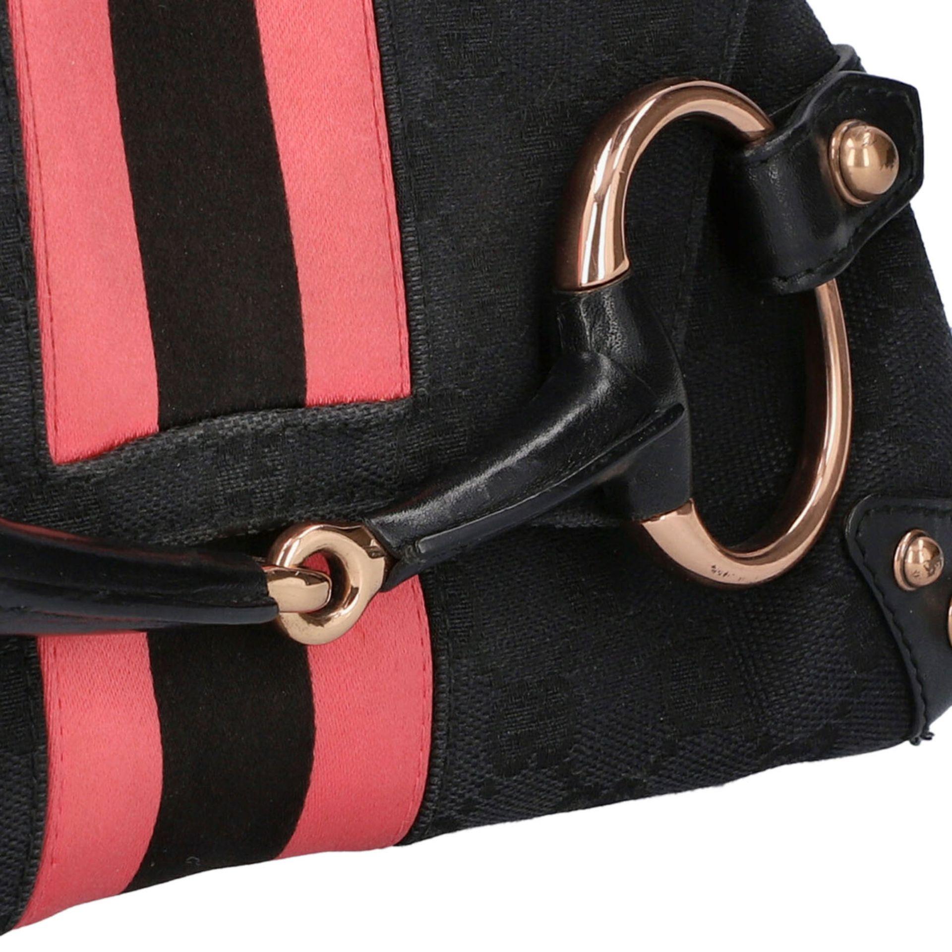 GUCCI Pochette. Guccissima Webmuster in Schwarz mit rosafarbenen Streifen und roségol - Image 8 of 8