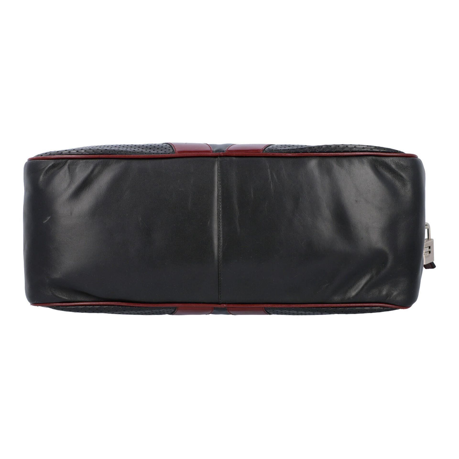 PRADA Handtasche. Glattleder in Schwarz und Bordeaux mit silberfarbener Hardware, umla - Image 5 of 8