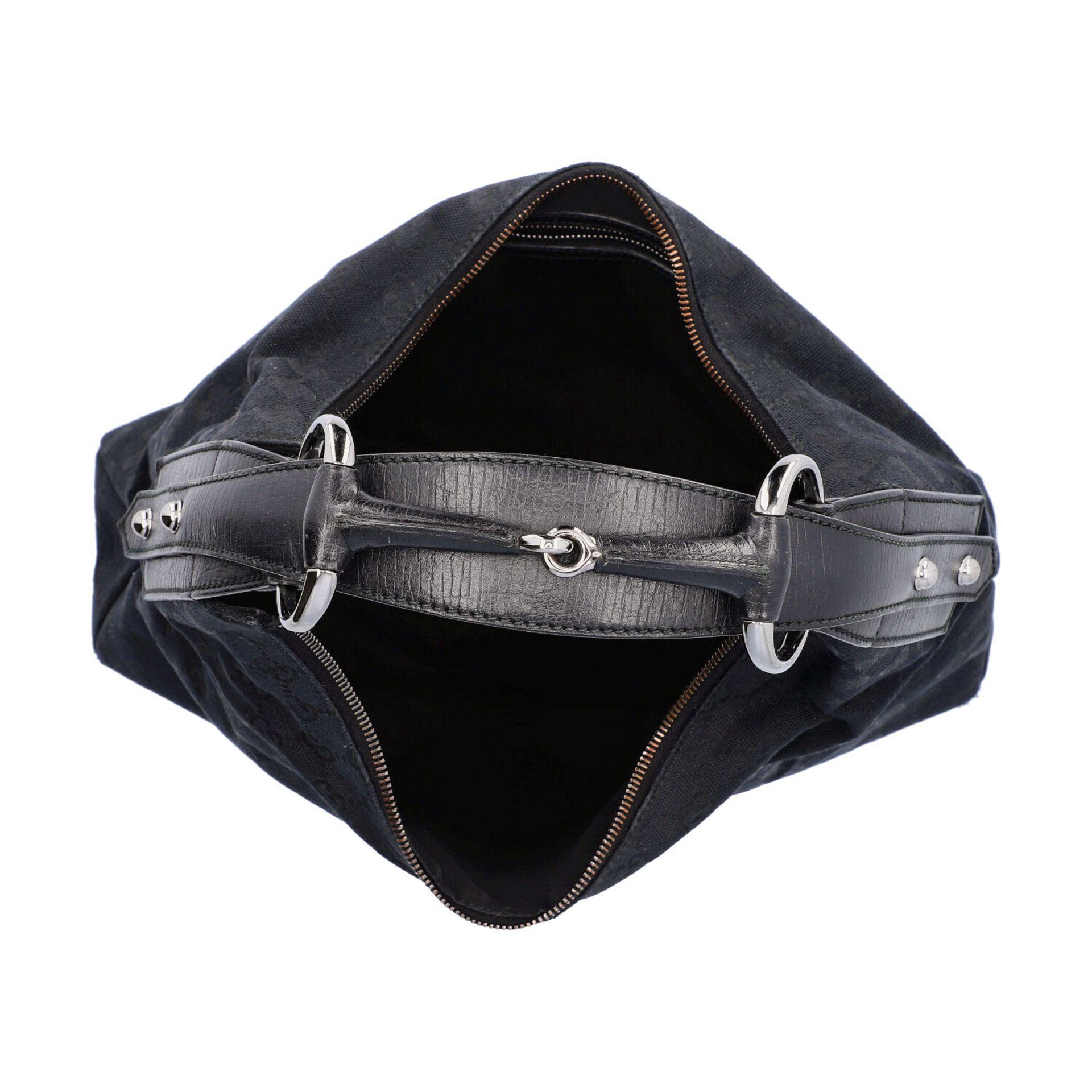 GUCCI Handtasche. Guccissima Design auf schwarzem Textil mit silberfarbener Hardware, - Image 6 of 8
