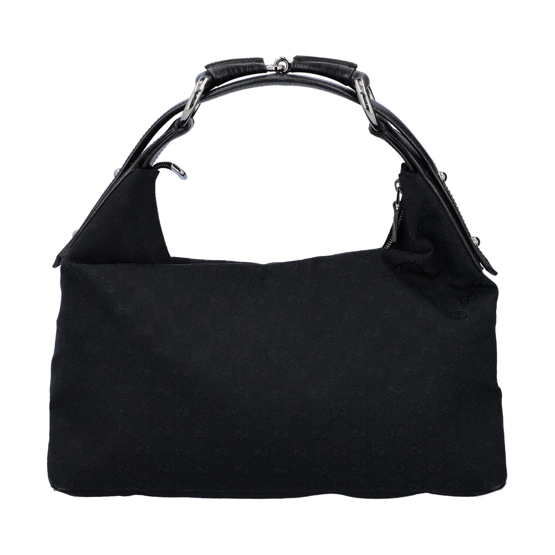 GUCCI Handtasche. Guccissima Design auf schwarzem Textil mit silberfarbener Hardware,