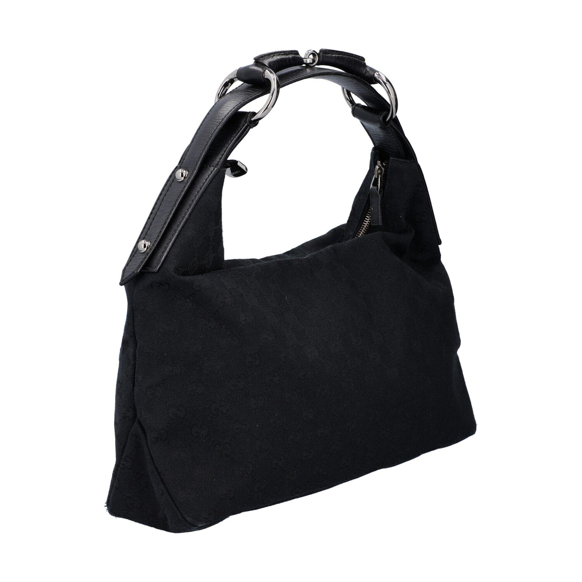 GUCCI Handtasche. Guccissima Design auf schwarzem Textil mit silberfarbener Hardware, - Image 2 of 8