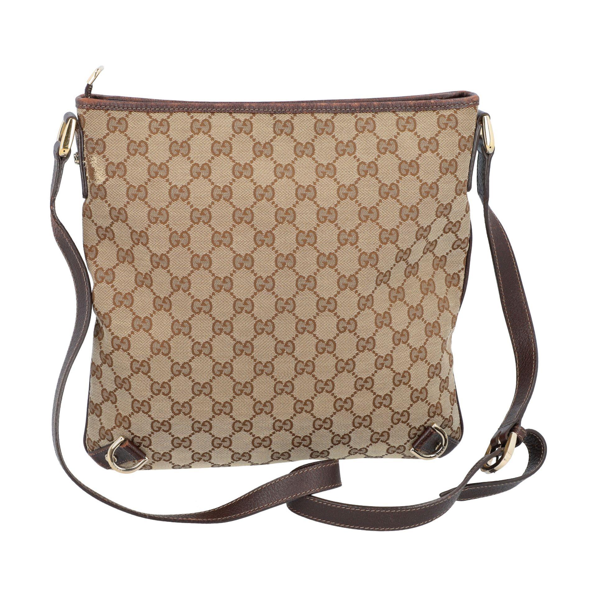 GUCCI Handtasche. Guccissima Design auf Textil in Beige und Braun, braunfarbene Leder- - Image 4 of 8
