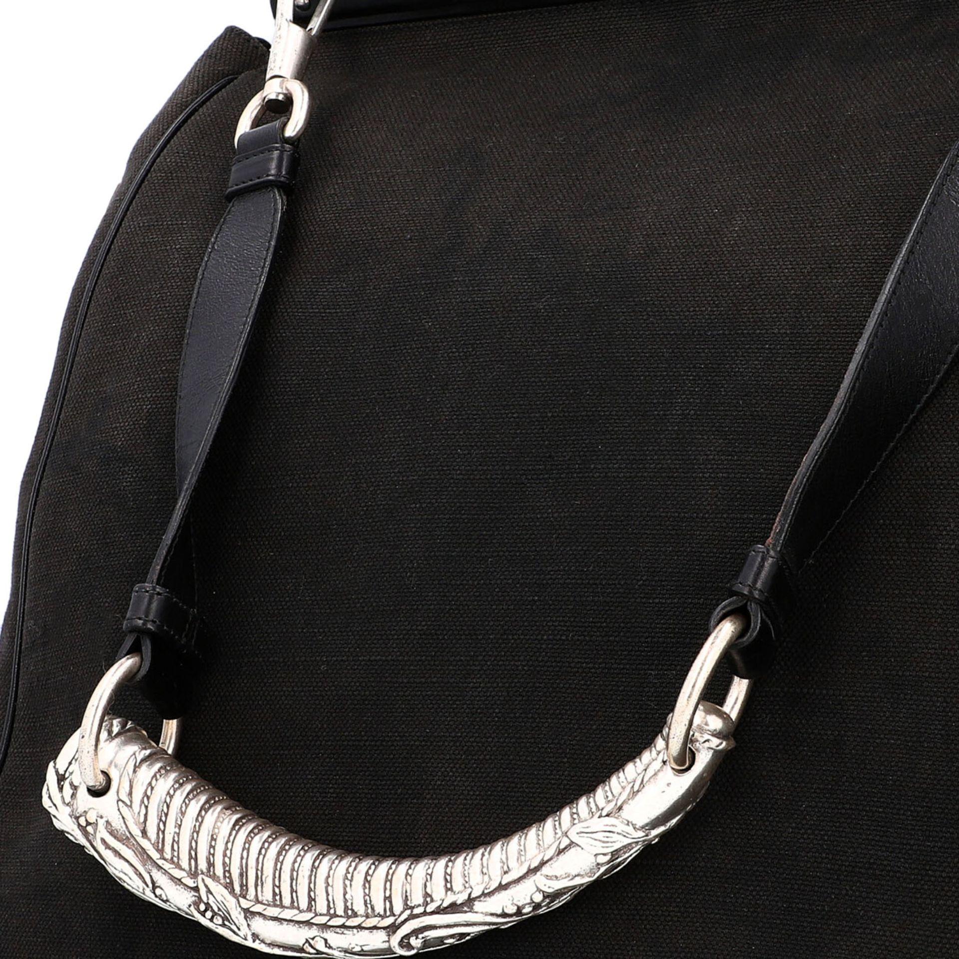 YVES SAINT LAURENT VINTAGE Handtasche. Schwarzes Modell aus Textil mit schwarzem Über - Image 7 of 8