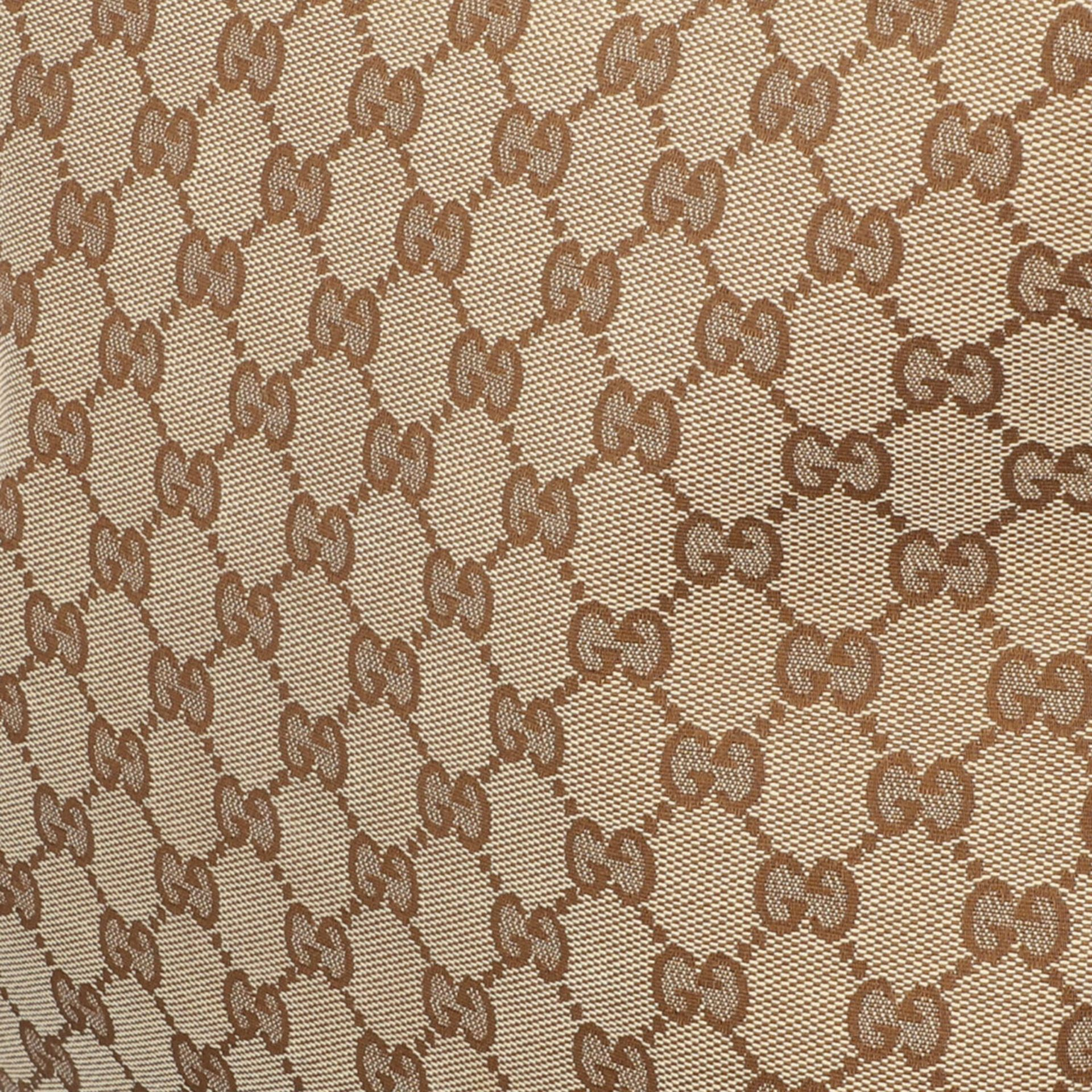 GUCCI Handtasche. Guccissima Design auf Textil in Beige und Braun, braunfarbene Leder- - Image 7 of 8
