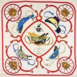 "HERMÈS Seidencarré ""SPRINGS"", by Philippe Ledoux, Entwurf erstmals erschienen 1974."