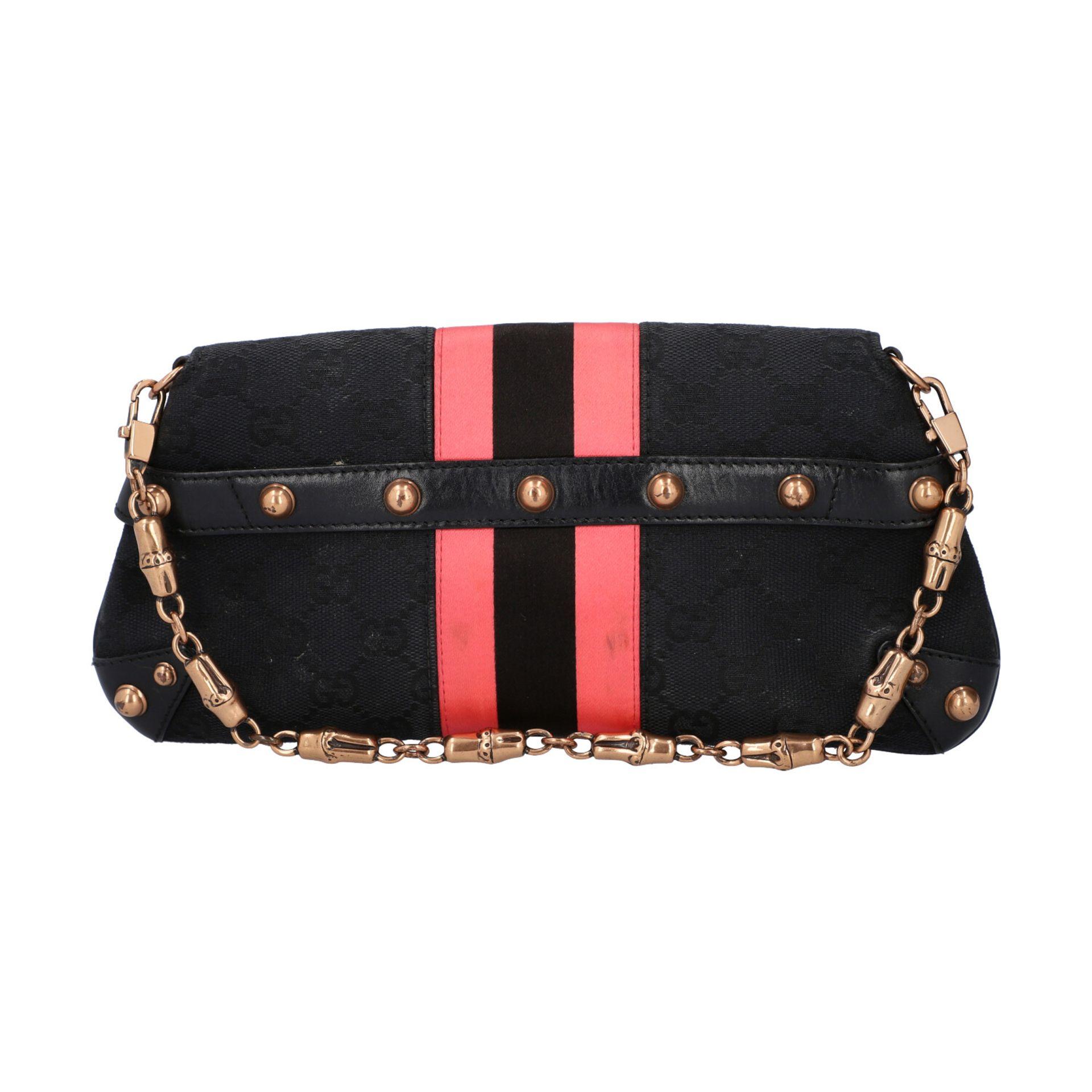 GUCCI Pochette. Guccissima Webmuster in Schwarz mit rosafarbenen Streifen und roségol - Image 4 of 8
