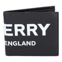 BURBERRY Portemonnaie, akt. NP.: 290,-€. Schwarzes Leder mit Logo-Schriftzug in Weiß. Innenraum mit
