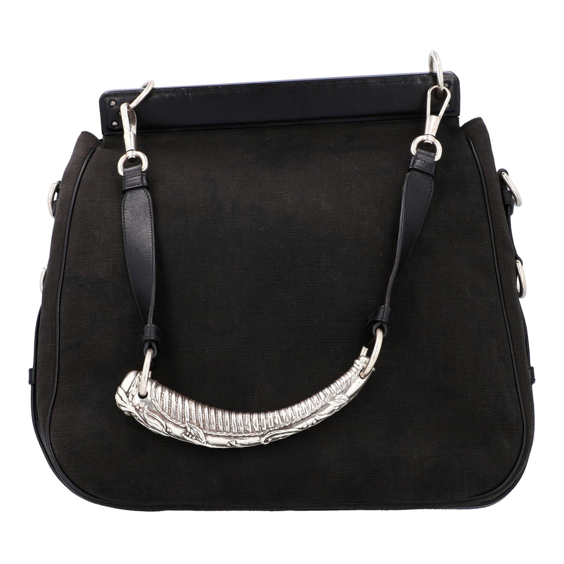 YVES SAINT LAURENT VINTAGE Handtasche. Schwarzes Modell aus Textil mit schwarzem Über - Image 4 of 8