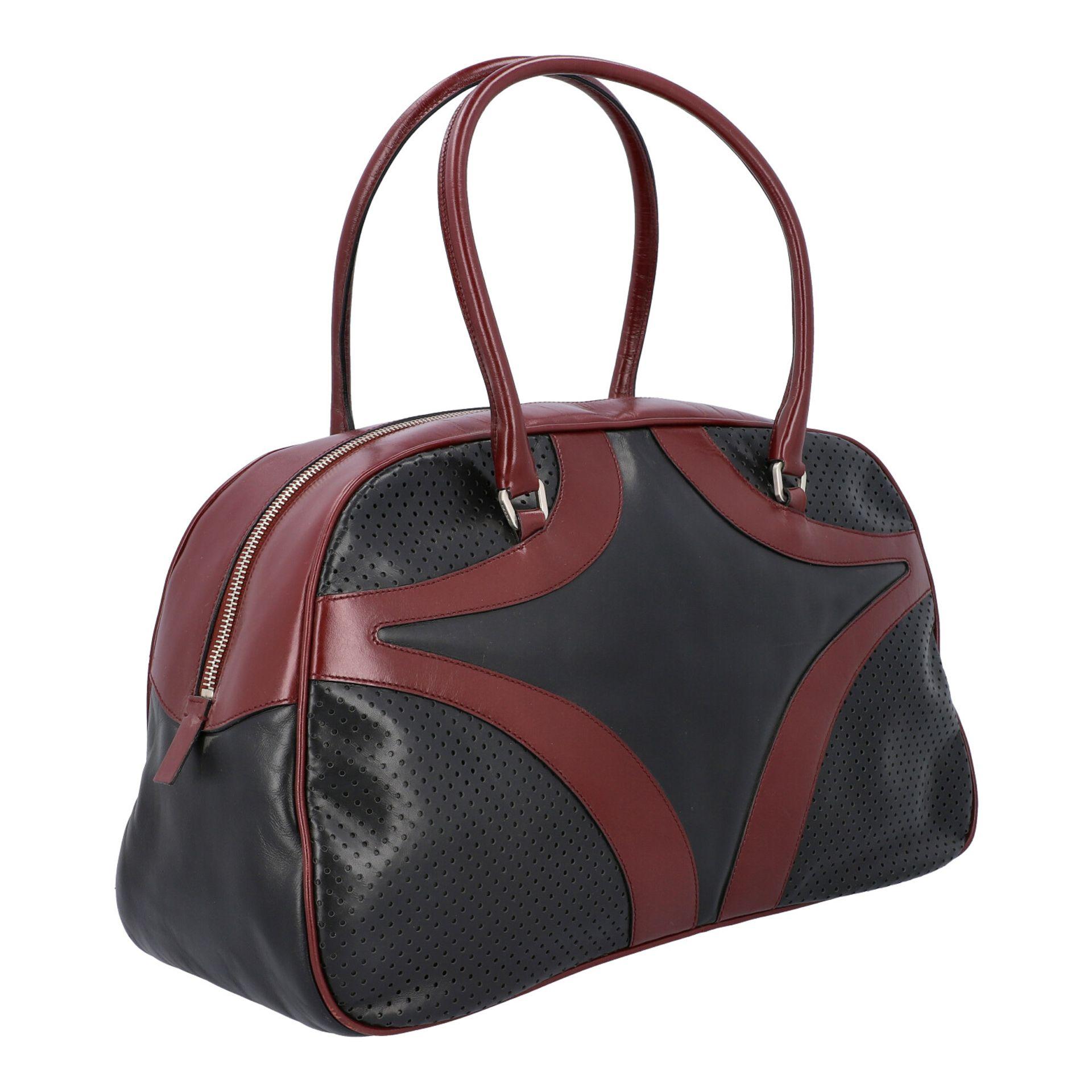 PRADA Handtasche. Glattleder in Schwarz und Bordeaux mit silberfarbener Hardware, umla - Image 2 of 8