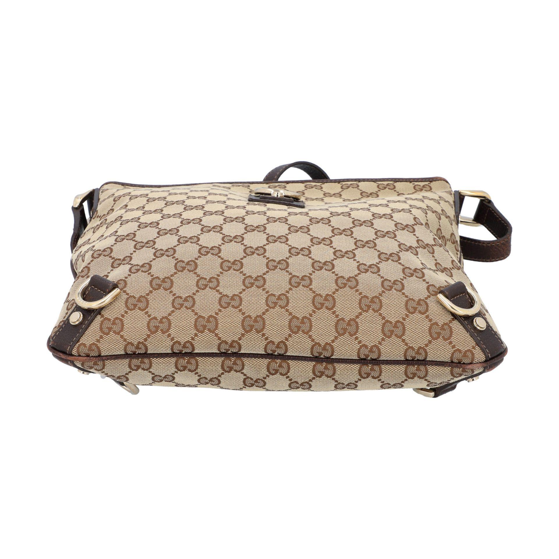GUCCI Handtasche. Guccissima Design auf Textil in Beige und Braun, braunfarbene Leder- - Image 5 of 8