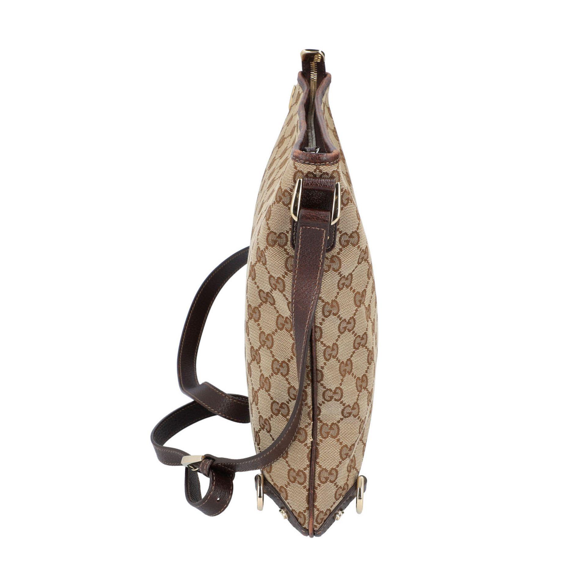 GUCCI Handtasche. Guccissima Design auf Textil in Beige und Braun, braunfarbene Leder- - Image 3 of 8