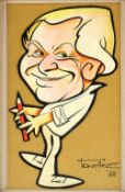 Tony Hart (British, 1925-2009). Caricature self portrait. 1968. Cut out mixed media / ink on