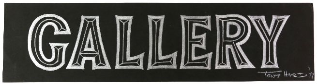 Tony Hart (British, 1925-2009). 'Gallery'. Silver pen drawing on card of 'Gallery' sign which was