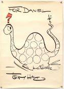 Tony Hart (British, 1925-2009). Diplodocus, original drawing, signed, with dedication 'For