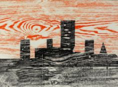 Tony Hart (British, 1925-2009). Skyline, crayon rubbing on paper. Unsigned. Stuck to card and