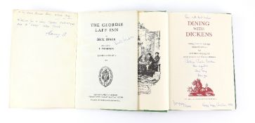 Two signed books gifted to Roc Renals. 'Dining With Dickens' by Cedric Dickens, hardback published
