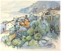 Tony Hart (British, 1925-2009). 'Le Rondini, Sori', landscape of Genova, watercolour and ink on