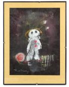 Tony Hart (British, 1925-2009). Clown with ball. Chalk / pastel on paper, 1981, signed and dated 81'