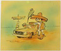 Tony Hart (British, 1925-2009). Drive to Rio, watercolour, signed lower left, 20.5 x 24.5cmTony Hart