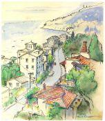 Tony Hart (British, 1925-2009). 'Sori, Prov di Genova,', landscape of Genova coastline,