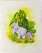 Tony Hart (British, 1925-2009). Elephant and baby elephant in the jungle. Ink and watercolour on