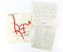Tony Hart (British, 1925-2009). A map of Shalford, Surrey and surrounding areas drawn by Tony, ink