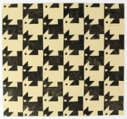Tony Hart (British, 1925-2009). Four chequered designs, ink, collage and sponge picture, paper