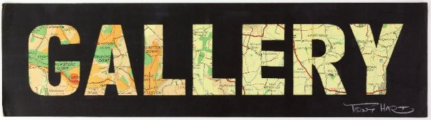 Tony Hart (British, 1925-2009). 'Gallery'. Cut out lettering over ordnance survey map, 'Gallery'