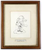 Tony Hart (British, 1925-2009). Cricket interest. Original drawing for inside of the cover of the
