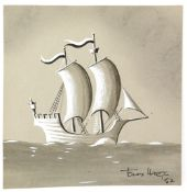 § Tony Hart (British, 1925-2009). Galleon, believed to be the inspiration for the Blue Peter logo