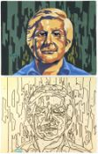 Tony Hart (British, 1925-2009). Self Portrait and matching drawing by numbers template of same