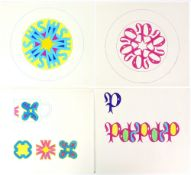 Tony Hart (British, 1925-2009). Four sets of lettering designs for plates and mugs, pen and ink on