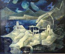§ Tony Hart (British, 1925-2009). 'Blue Port'. View of the Ligurian Coast, Italy. Between Rapallo
