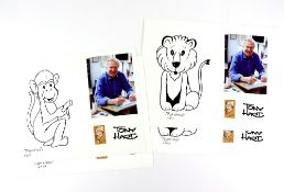 Tony Hart (British, 1925-2009). Four limited edition prints, unsigned. Monkey (AP/03), and Lion (