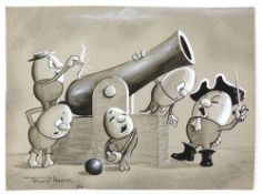 Tony Hart (British, 1925-2009). Egg pirates firing a cannon, ink and watercolour on paper. Signed