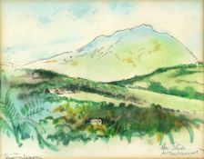 Tony Hart (British, 1925-2009). View of Air Studios Montserrat. Watercolour and ink on paper, c1979,