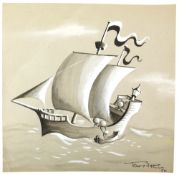Tony Hart (British, 1925-2009). Eggs helping another egg onto a ship from a small boat, ink and