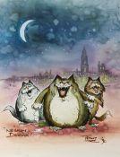 Tony Hart (British, 1925-2009). 'Nessun Dorma', the cat three tenors, pen and watercolour on