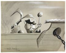 Tony Hart (British, 1925-2009). Egg pirate with coconut on his sword next to fired cannon, ink and