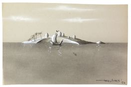 Tony Hart (British, 1925-2009). Ship off egg island, ink and watercolour on paper. Signed Tony