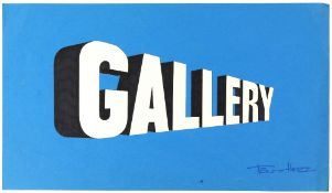 Tony Hart (British, 1925-2009). 'Gallery'. Pen and cut out paper stuck on card of 'Gallery' sign