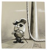 Tony Hart (British, 1925-2009). Egg pirate with folded arms, ink and watercolour on paper. Signed