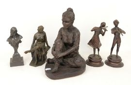 Art Nouveau style spelter bust of a woman and four other bronze effect figures