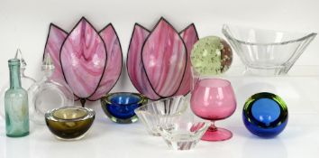 Three glass dishes marked Desna to base, coloured glass dishes, pink glass wall shades and other