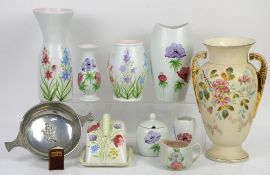 Collection of Radford pottery including cheese dish, vases etc, a late 19th century twin handled